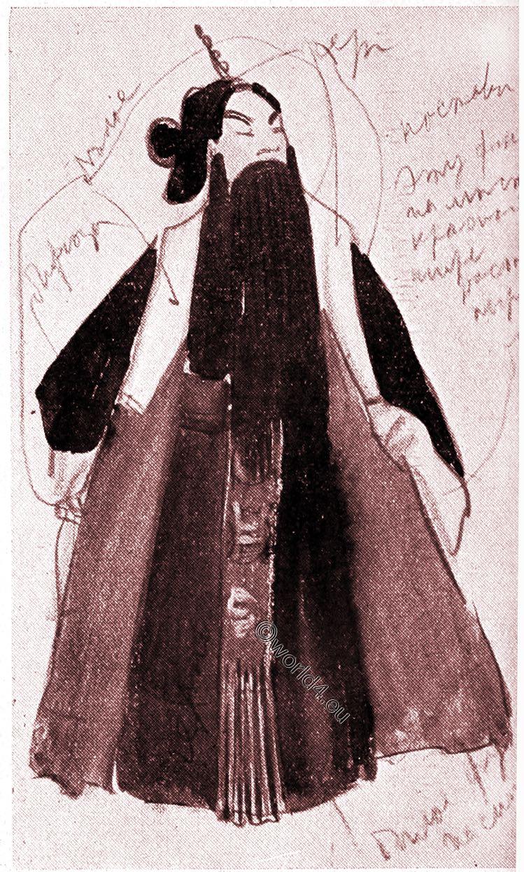 Servant, China, Theatre, actors, illustration, Alexander Jewgenjewitsch Jakowlew