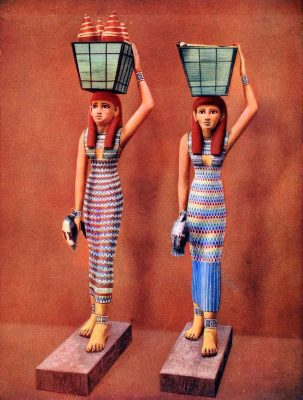 Ancient, Egyptian, kalasiris, Handmaidens, statues