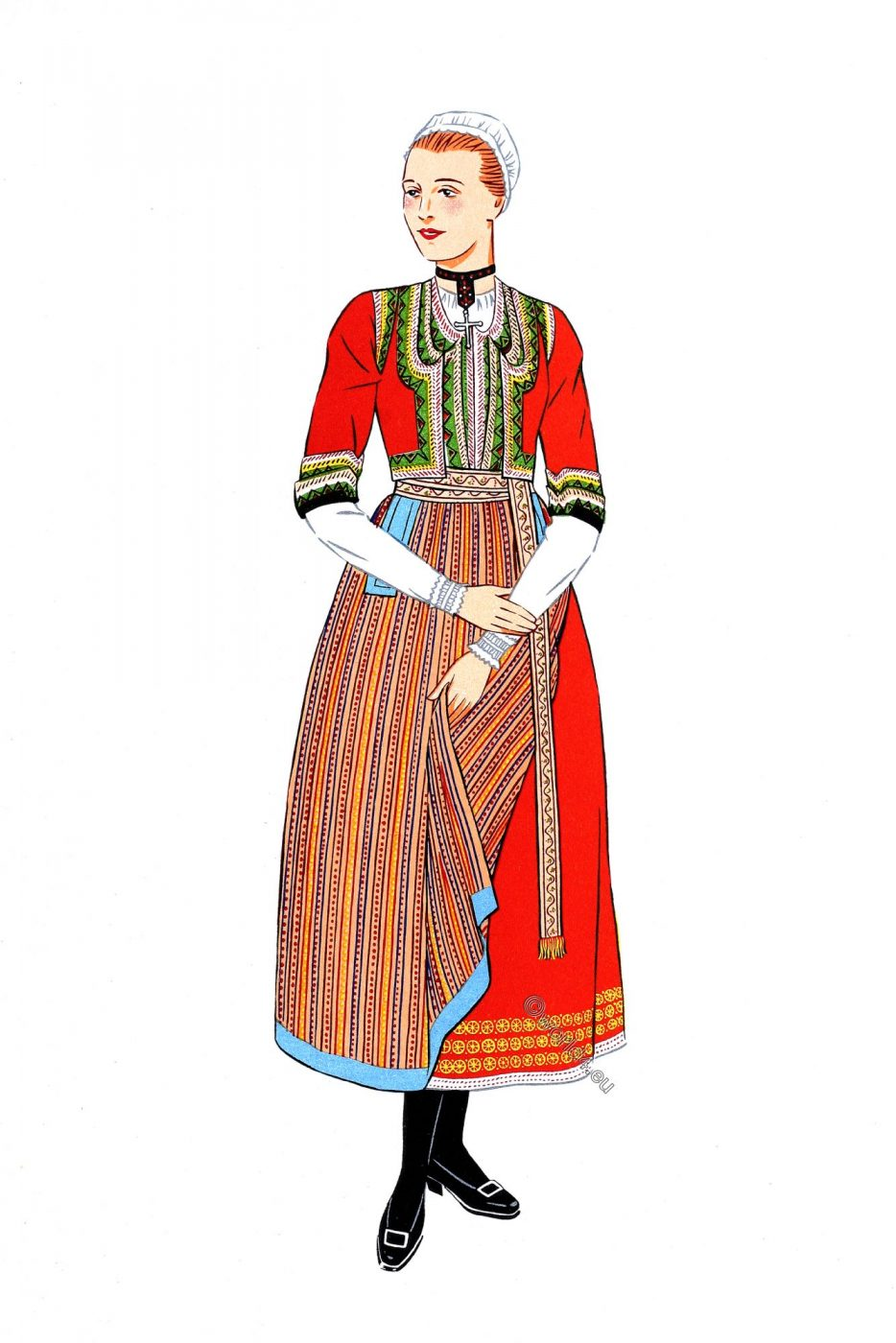 French traditional clothing, Elliant, Brittany, Finistère, folk costume,