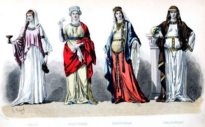 Gallic, Merovingian, Carlovingian, Fashion, History, costumes