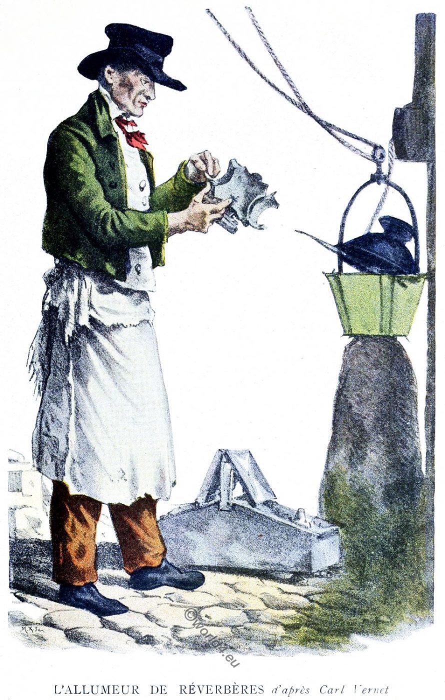 lantern lighter, carl, vernet, Parisian Characters, Historical professions,