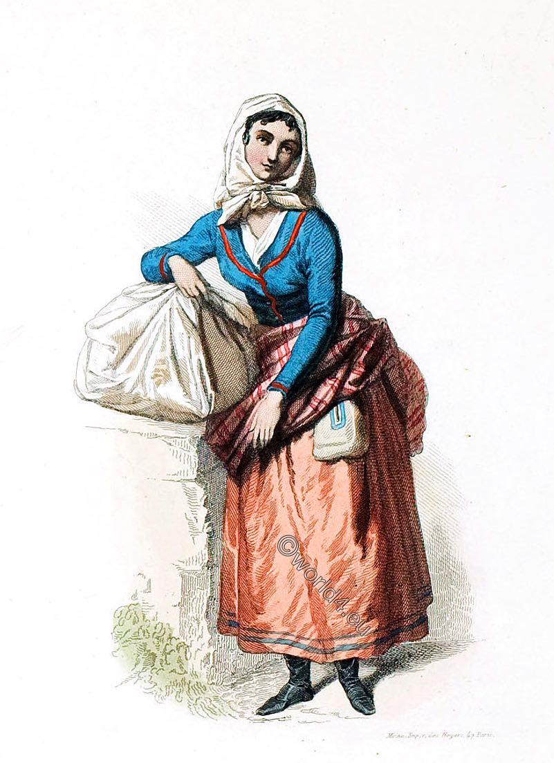 Laundress, costume, Lisbon, Portugal,  Musée cosmopolite