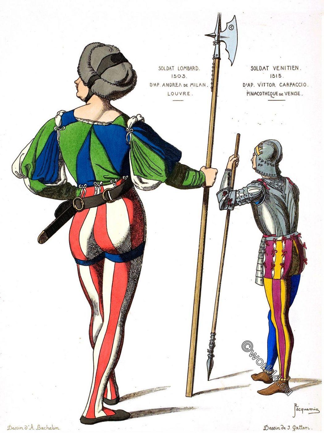 Lombard soldier, Venetian soldier, Renaissance, costumes, Mi-Parti,