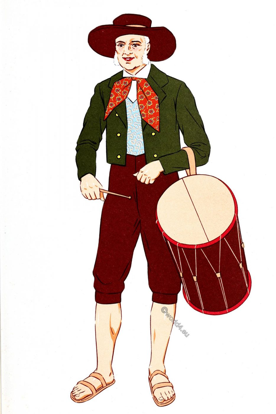 French, Traditional clothing, Provence, Tambourine player, costume,