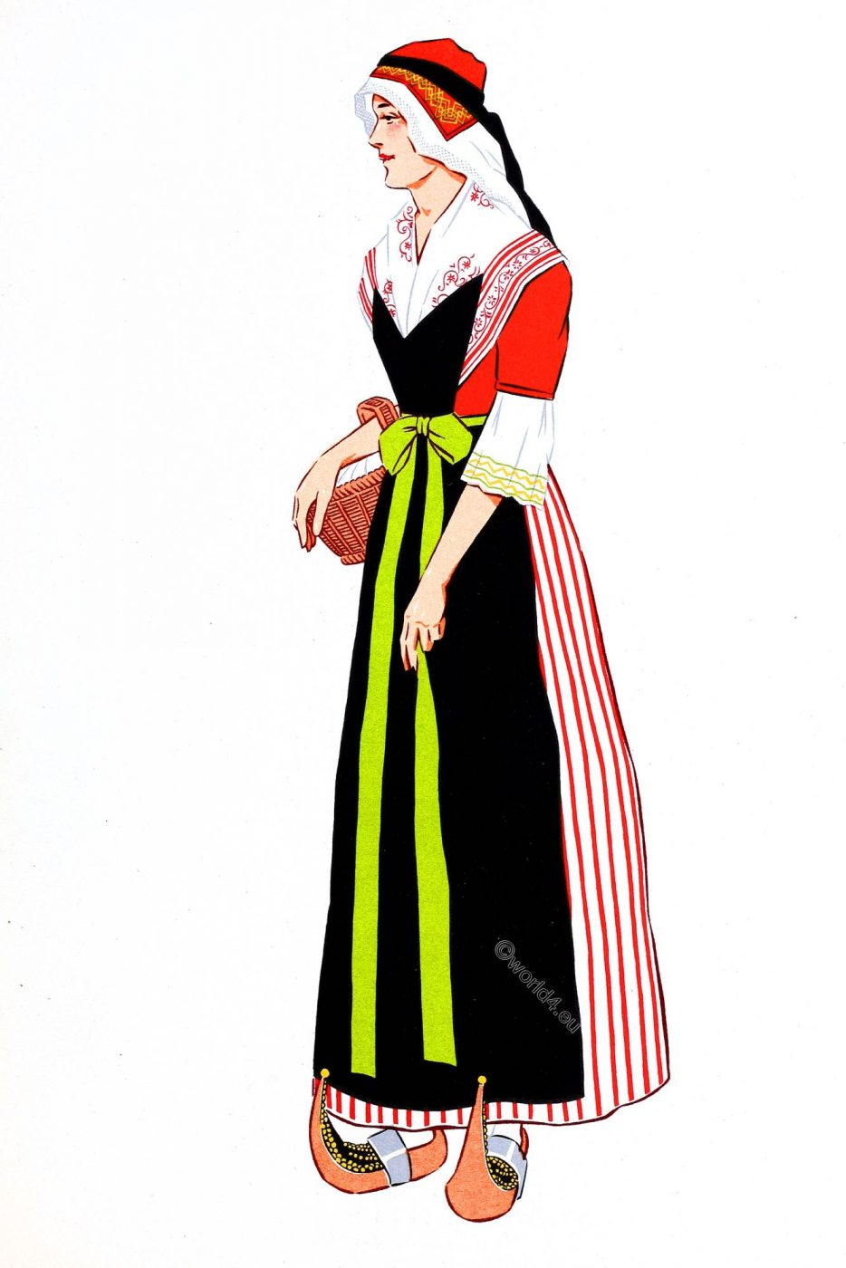 French, Pyrenees, Bethmale Valley, costume, traditional clothing, woman, France