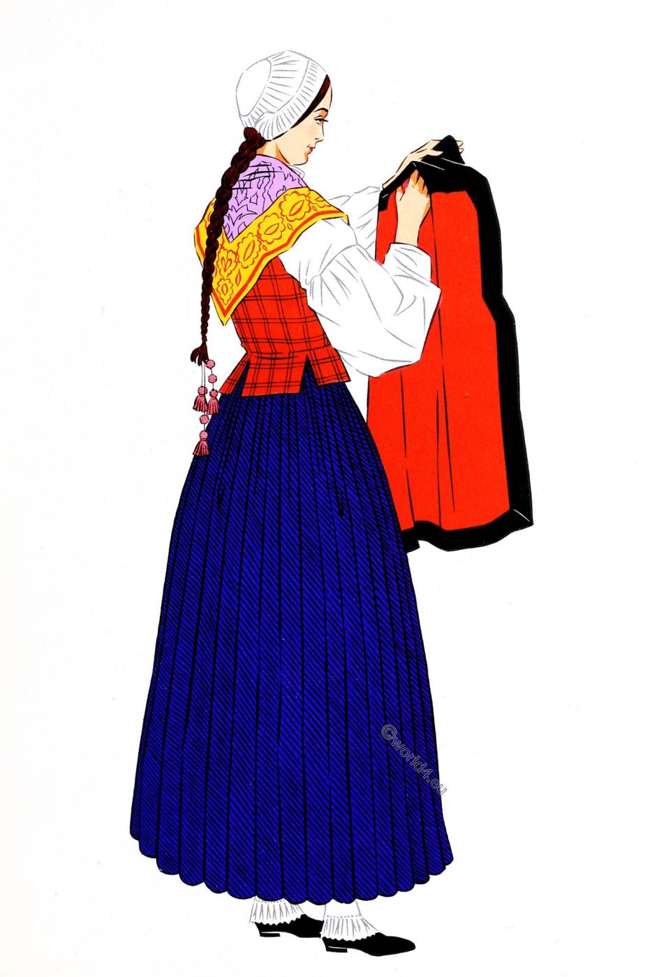 French, Pyrenees, Eaux-Bonnes, costume, traditional clothing, woman, France