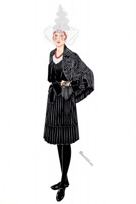Sables d'Olonne, costume, traditional clothing, woman, France,