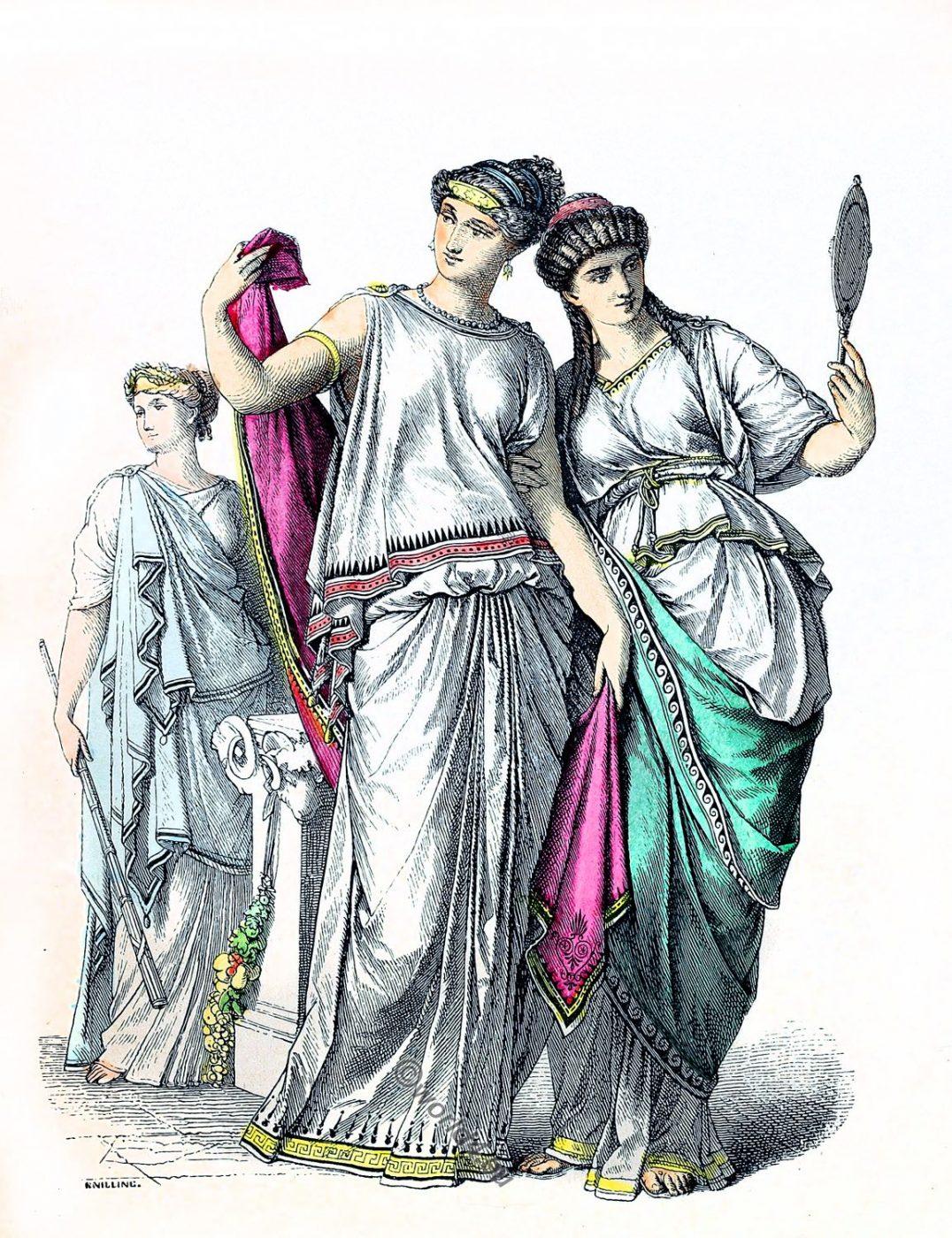 Ancient, costumes, Priestess, Noble Greek women,