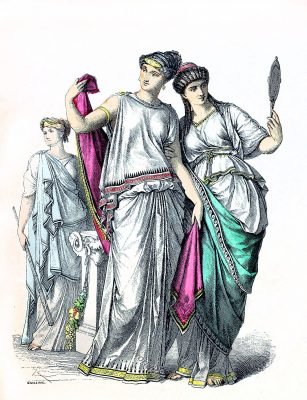 Ancient, costumes, Priestess, Noble Greek women,