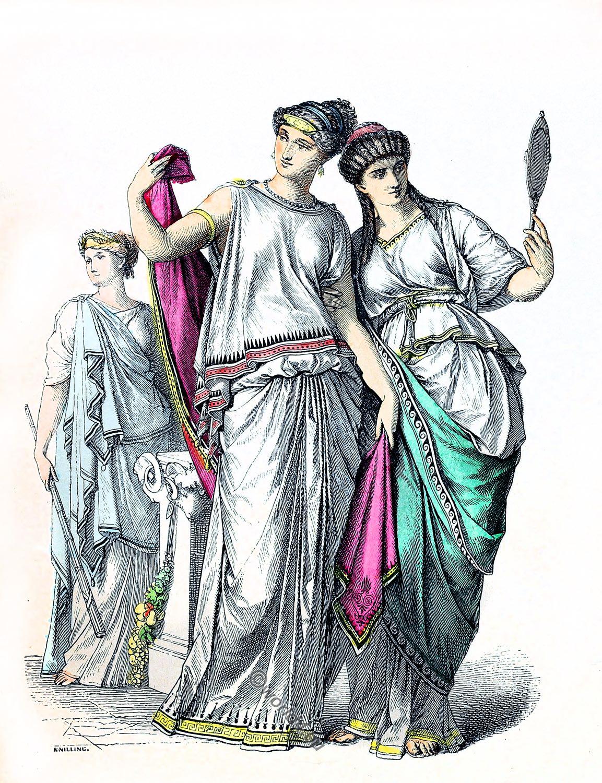Gravure 1867 Anciens et nouveaux costumes nationaux de la Grèce