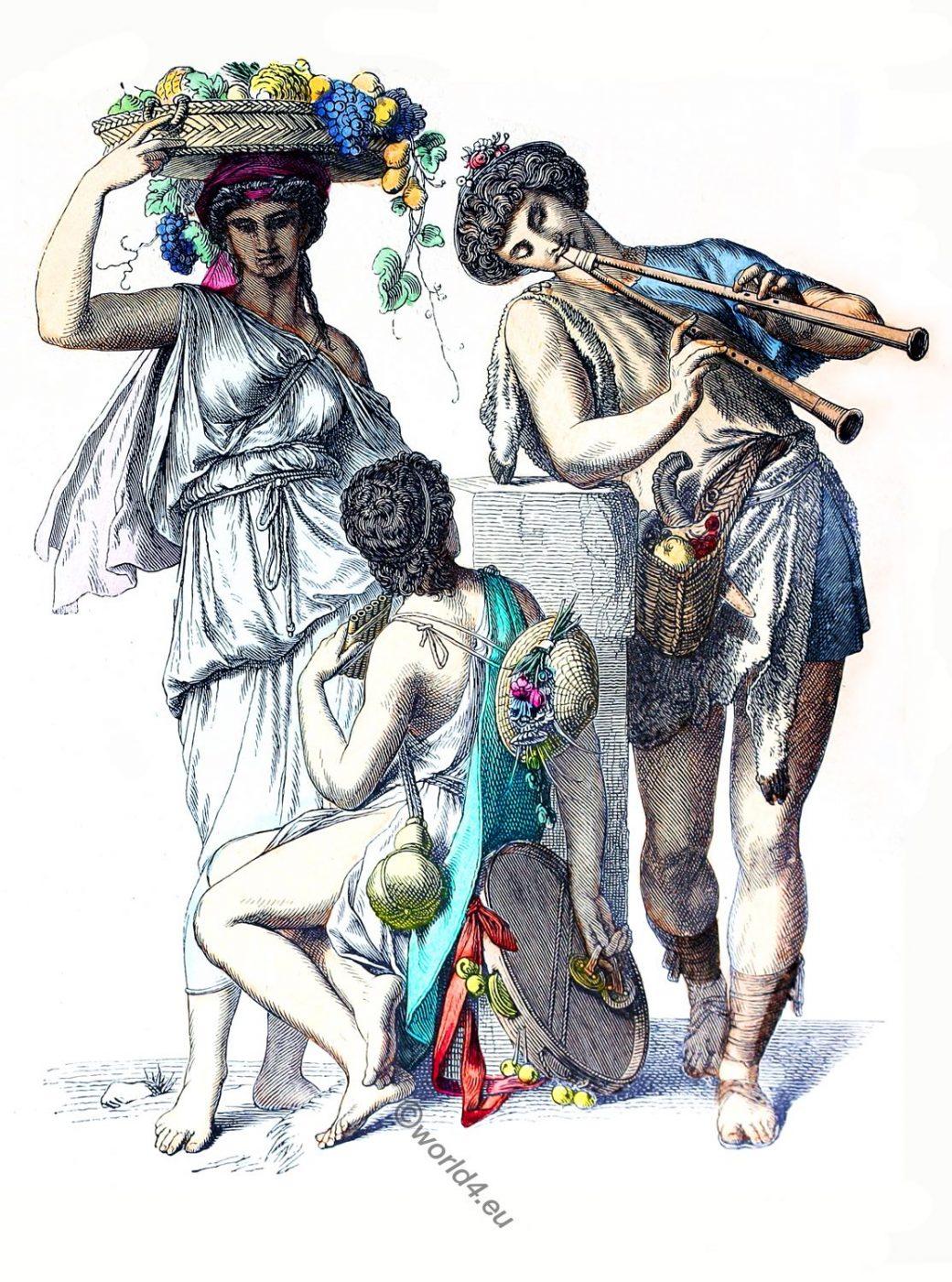 Ancient, Greek, peasants, costumes, dress, clothing
