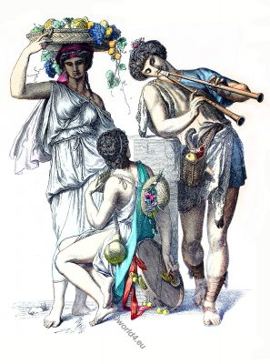 Ancient, Greek, peasants, costumes, dress, clothing