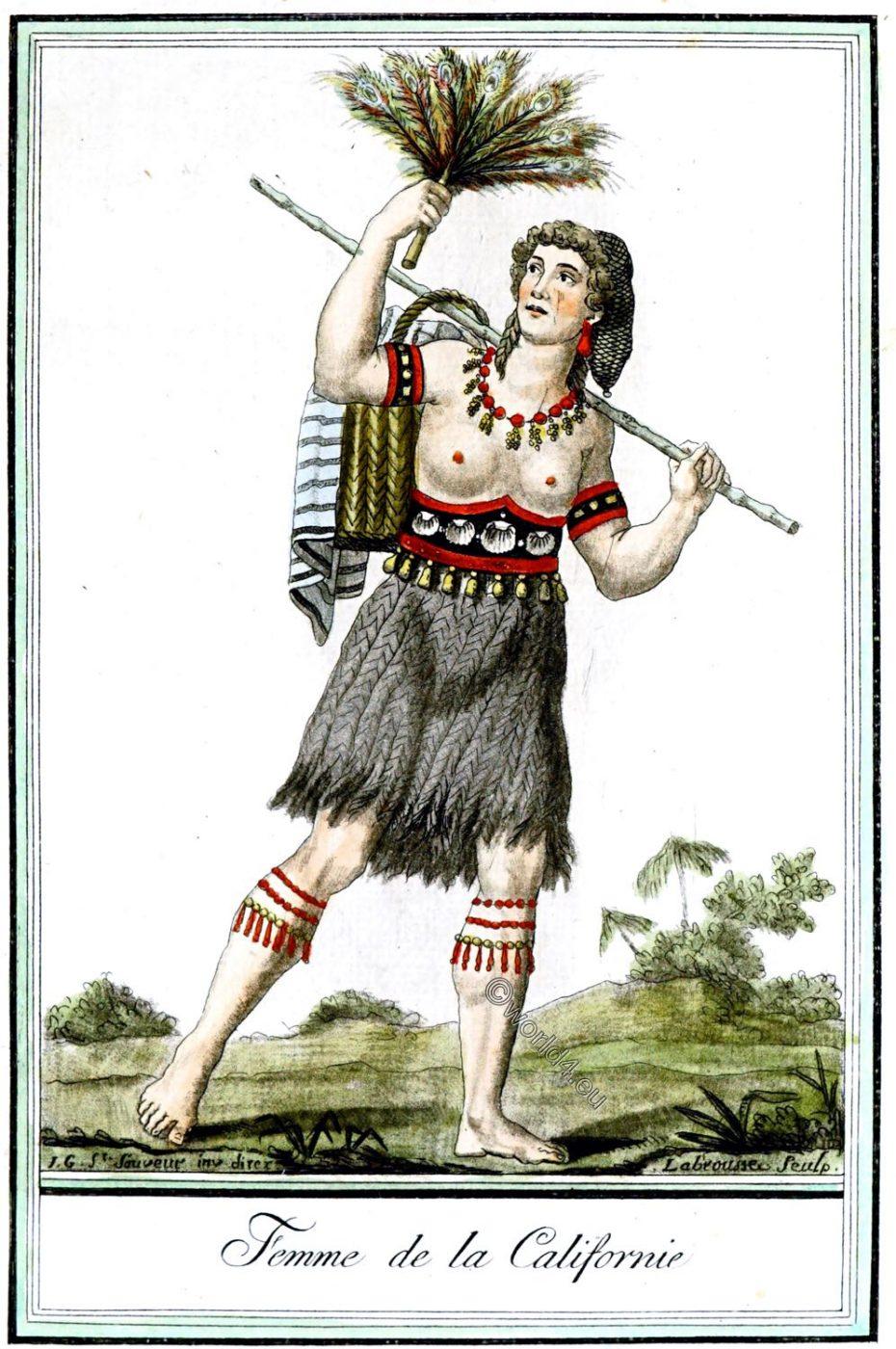 California, Native, Californian, woman, clothing, Jacques Grasset de Saint-Sauveur