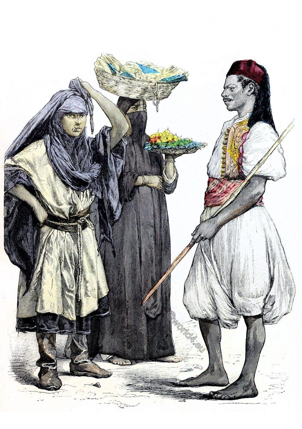 traditional, egyptian, clothing, Bedouin, Fruit seller, Runner, messenger,