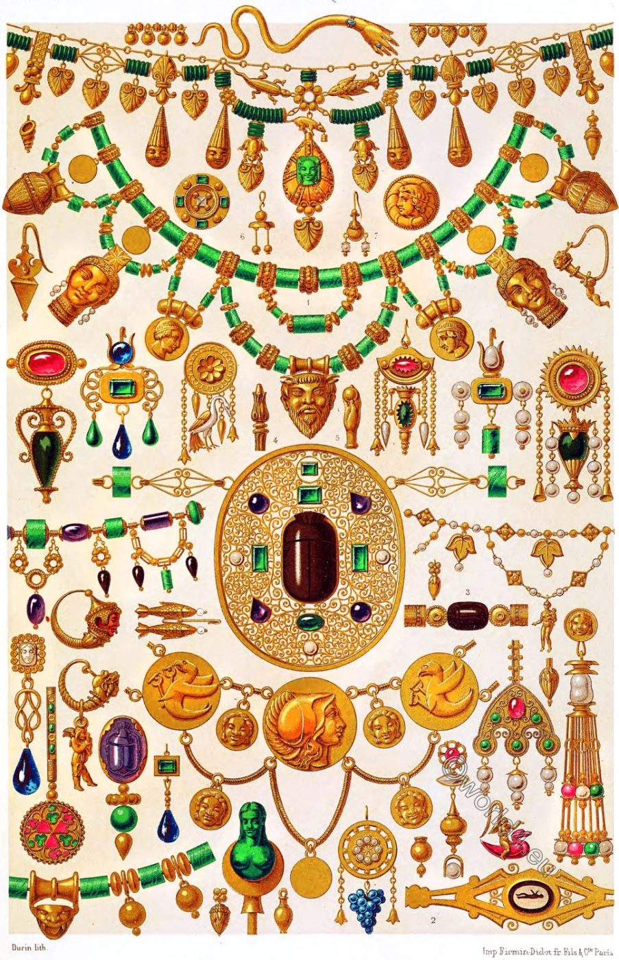 Auguste Racinet, etruscan, art, jewels, civilization, ancient, Italy