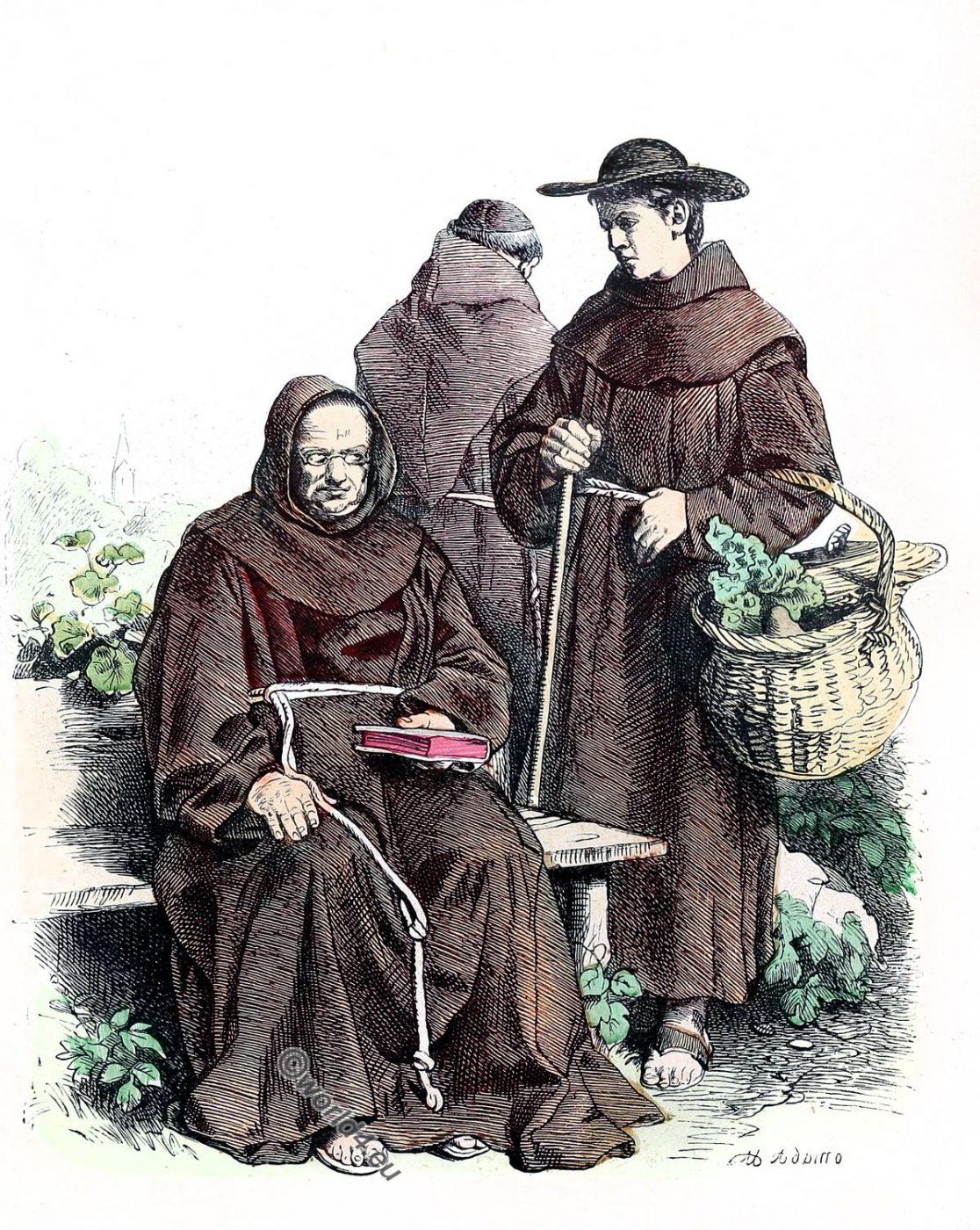 Franciscans, monks, Ecclesiastical habit, religious order, costume,