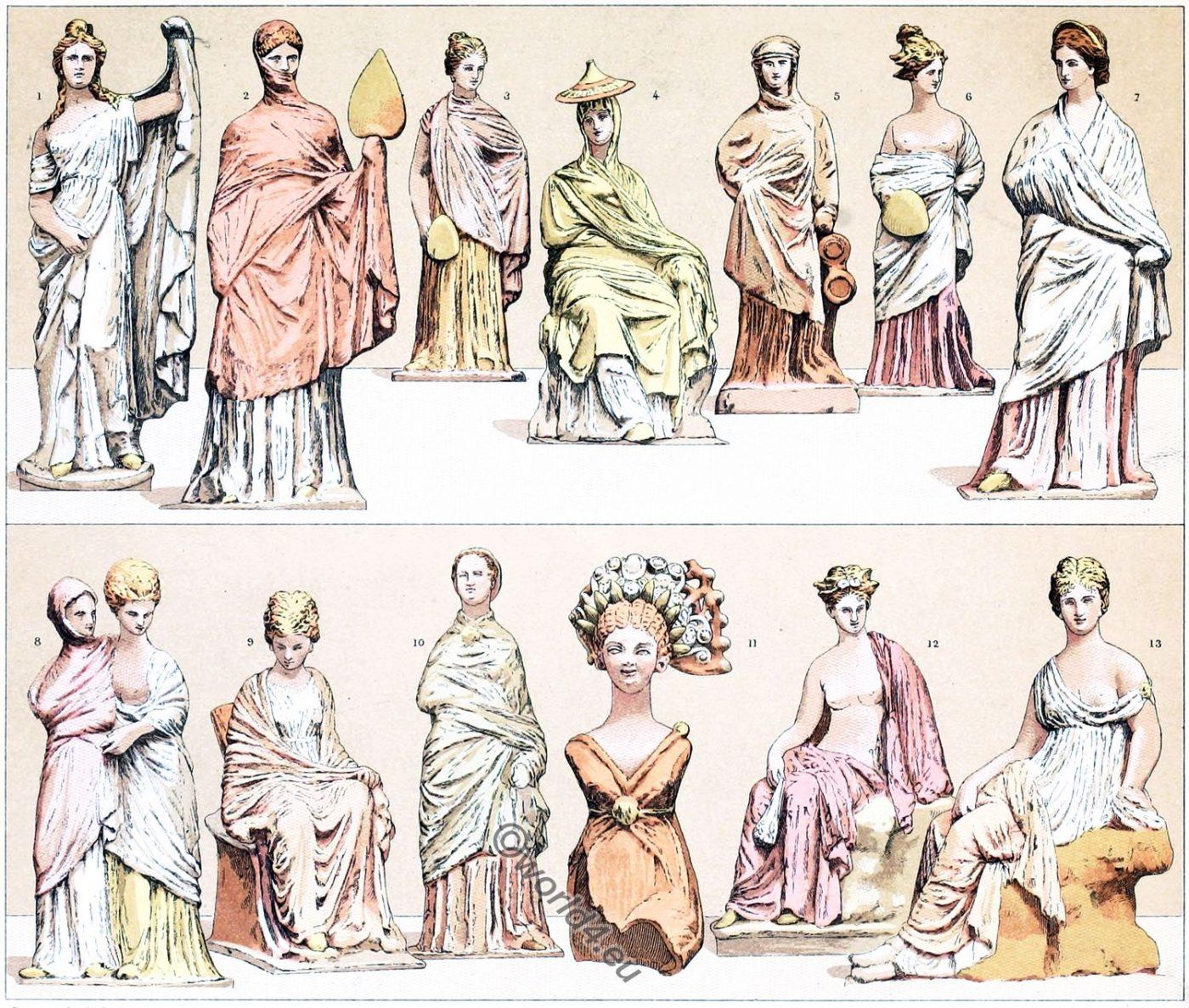 Greece, Tanagra, terracotta, figures, costumes, fashion