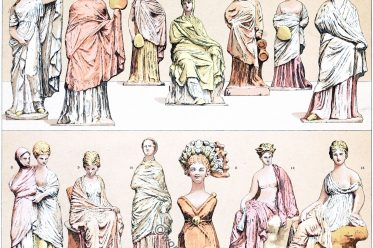 Greece, Tanagra, terracotta, figures, costumes, fashion