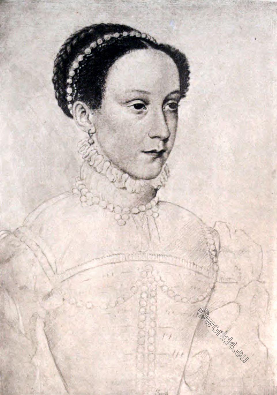 Mary Stuart, Dauphine, France, drawing, Bibliothèque Nationale, Paris,