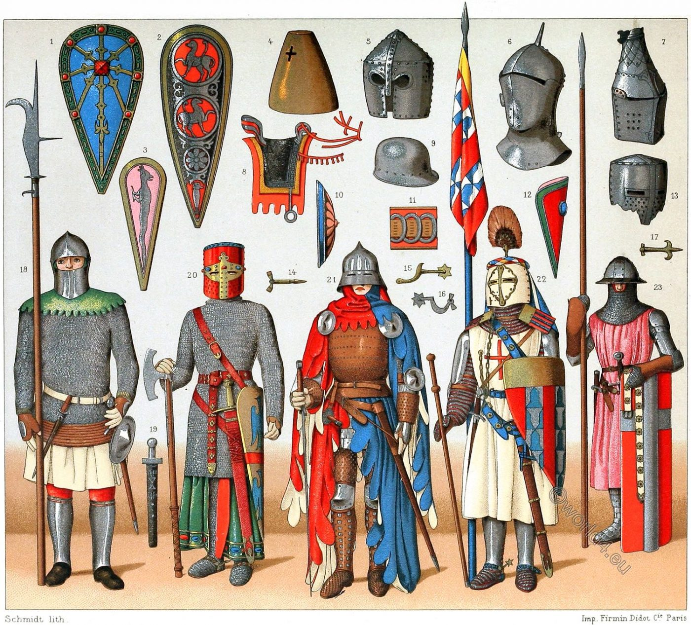 Flags, banners, standards, War costumes,  Middle Ages, knights, armor, weapons
