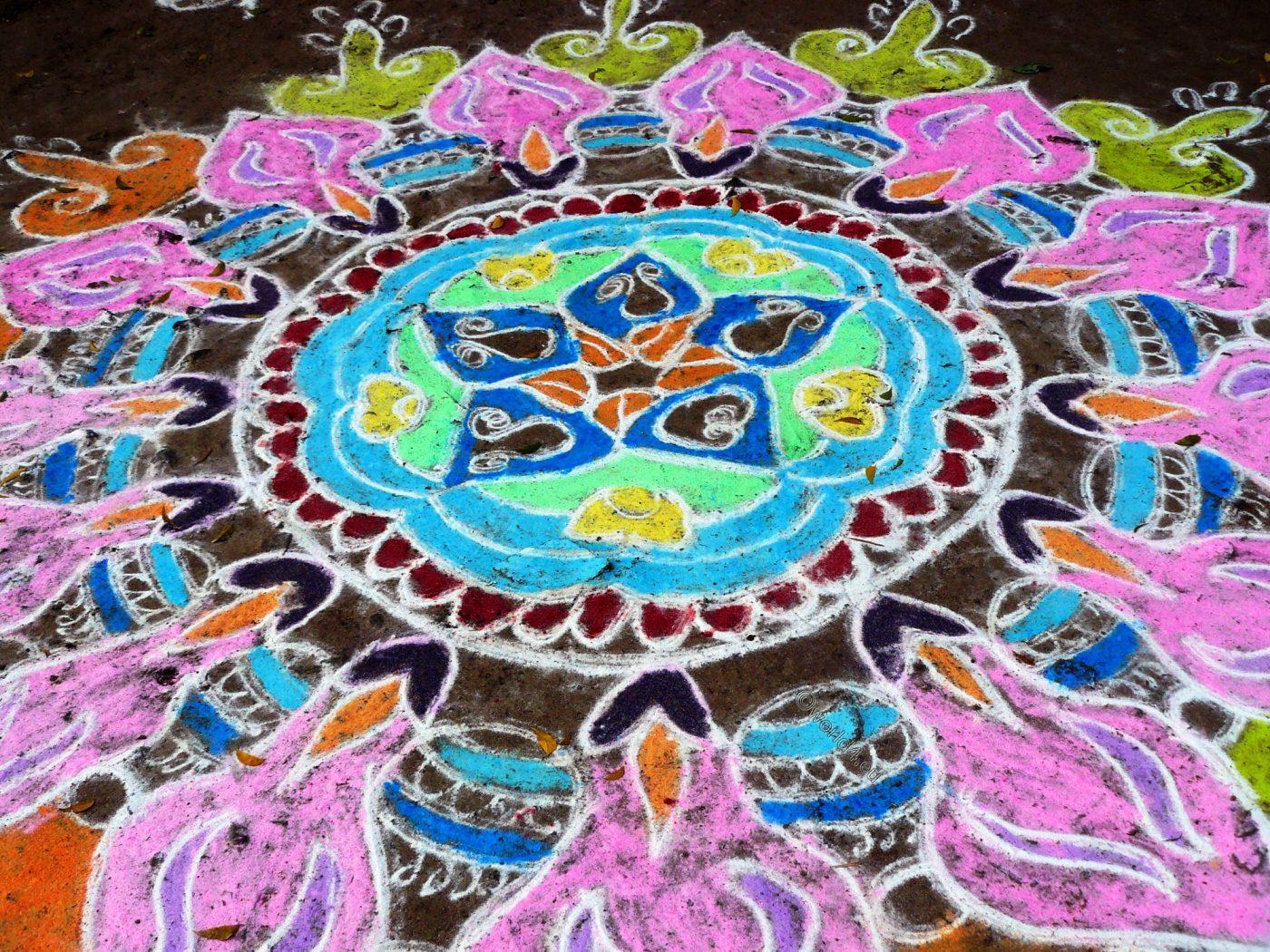 Rangoli, drawing, Kolam, Kalam, Muggu, Tiruvannamalai, Tamil Nadu, India, Dhanya Komarek