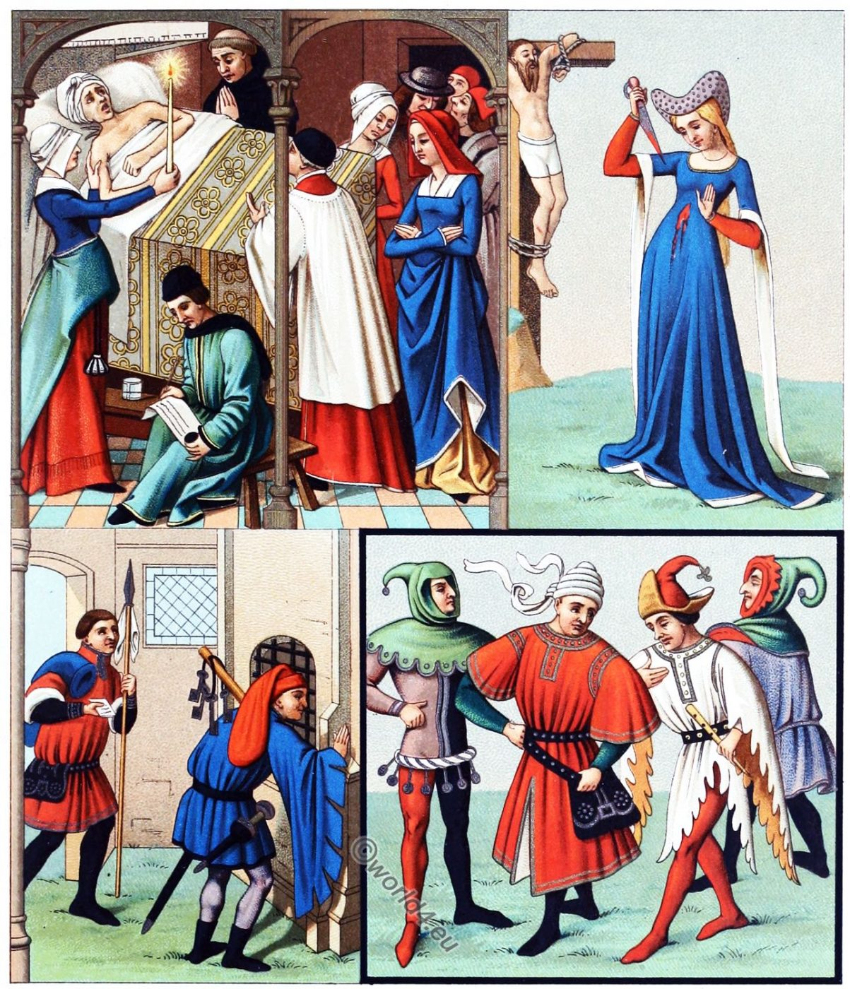Bourgeois, costumes, Middle Ages, France 14th, 15th, century,