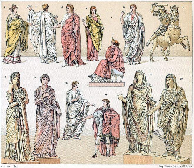 Toga, types, Roman, Togatus, drapery, Auguste Racinet