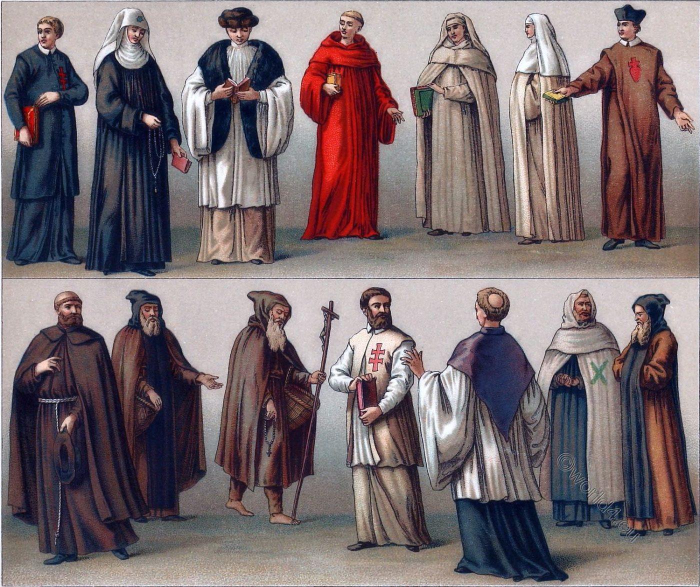 spiritual orders, monastic, costumes, habit, monks, nuns,