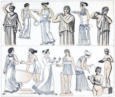 Strophion, chiton, Greek, women, costumes, antiquity, Auguste Racinet,