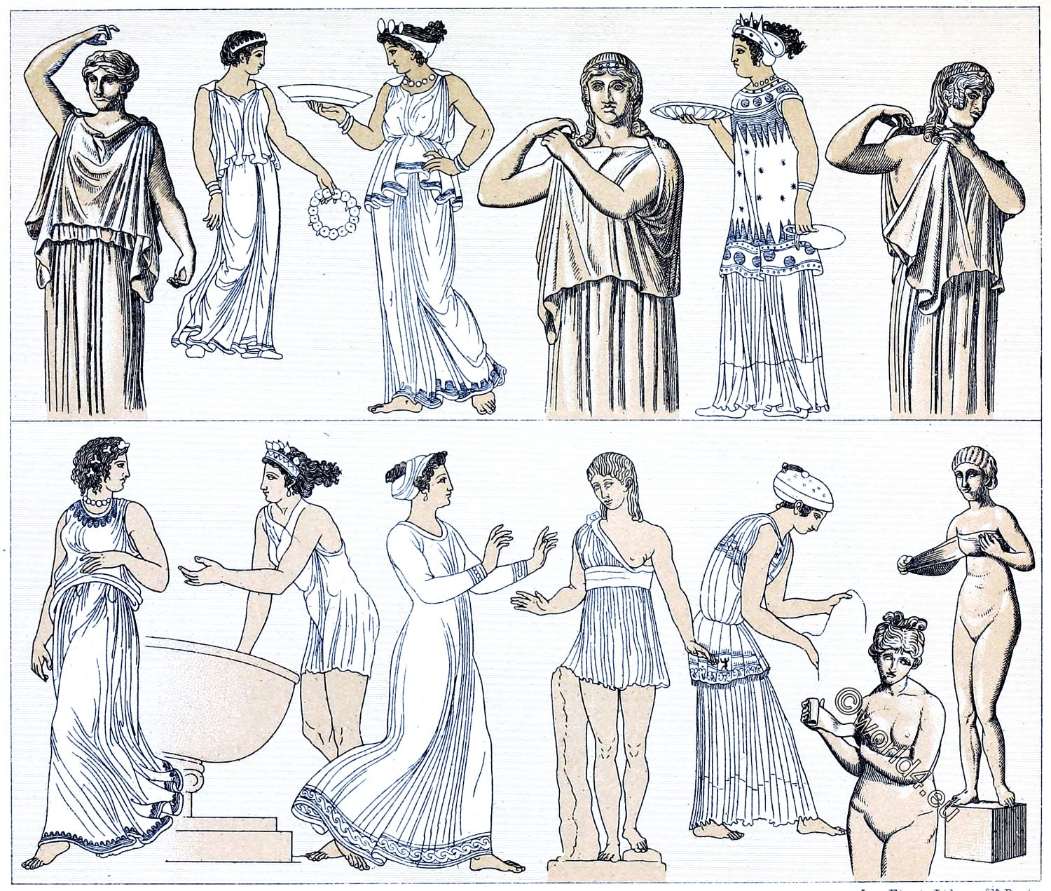 Strophion, chiton, Greek, women, costumes, antiquity, Auguste Racinet,