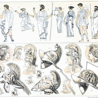 Chlamys, Petasos, Himation, chiton, ancient, greek, costumes, Auguste Racinet,