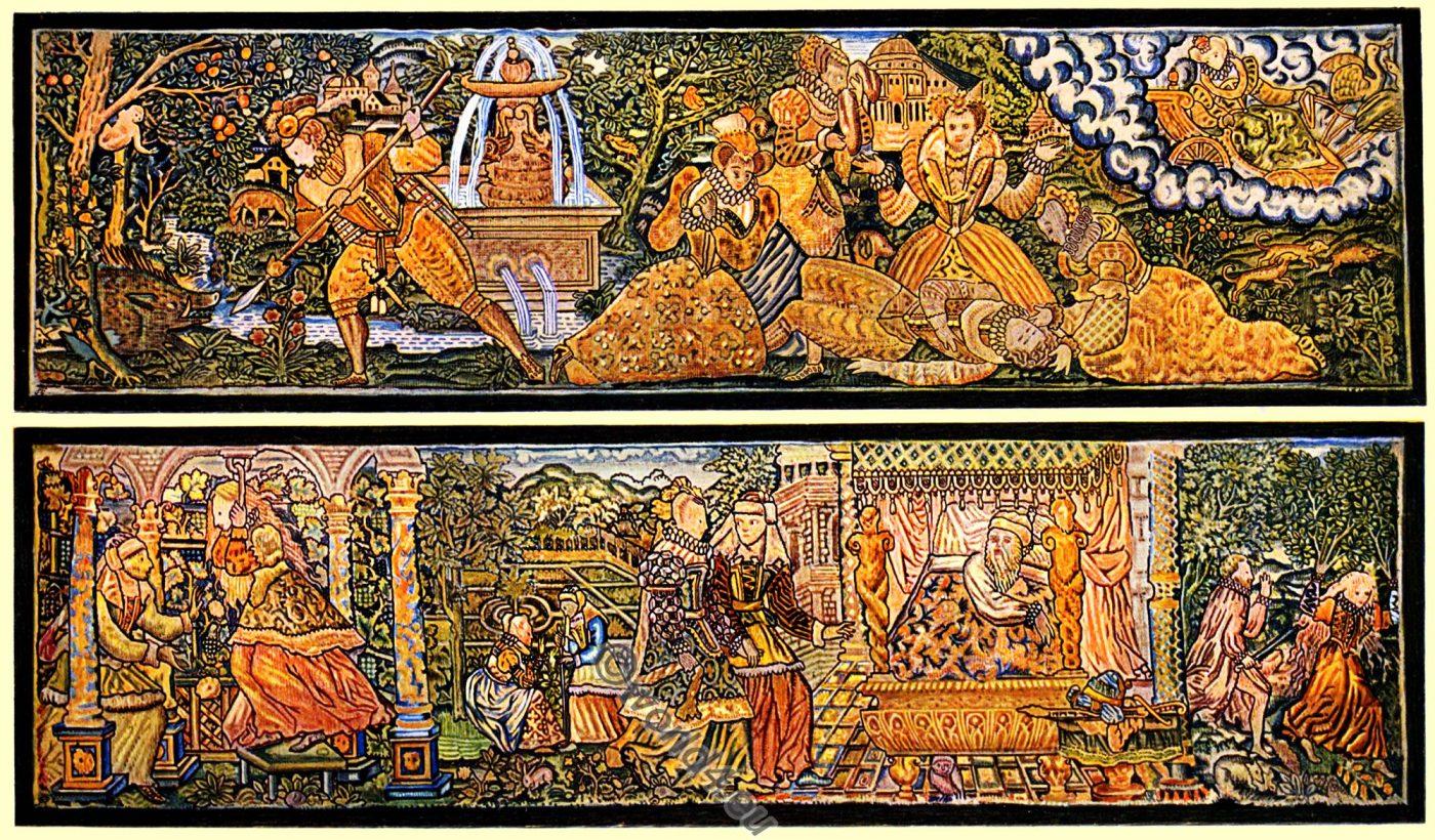 Embroidered Panels, Venus, Adonis, Myrrha, England, Tudor, 16th century, Elizabethan