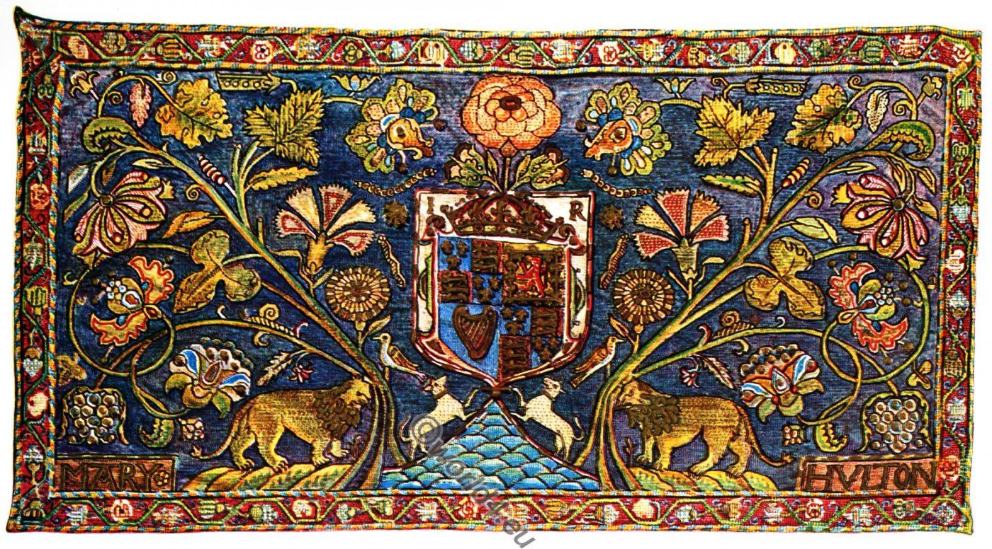 Embroidered Panel, Petit point, cross stitches, Tudor, Stuart, 17th century, Elizabethan