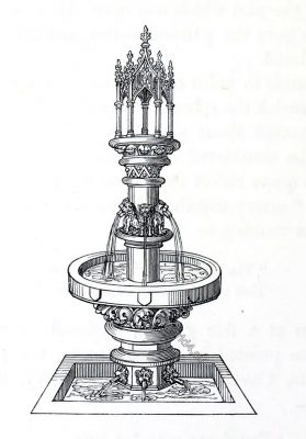 Illustration, fountain, medieval, graphic,