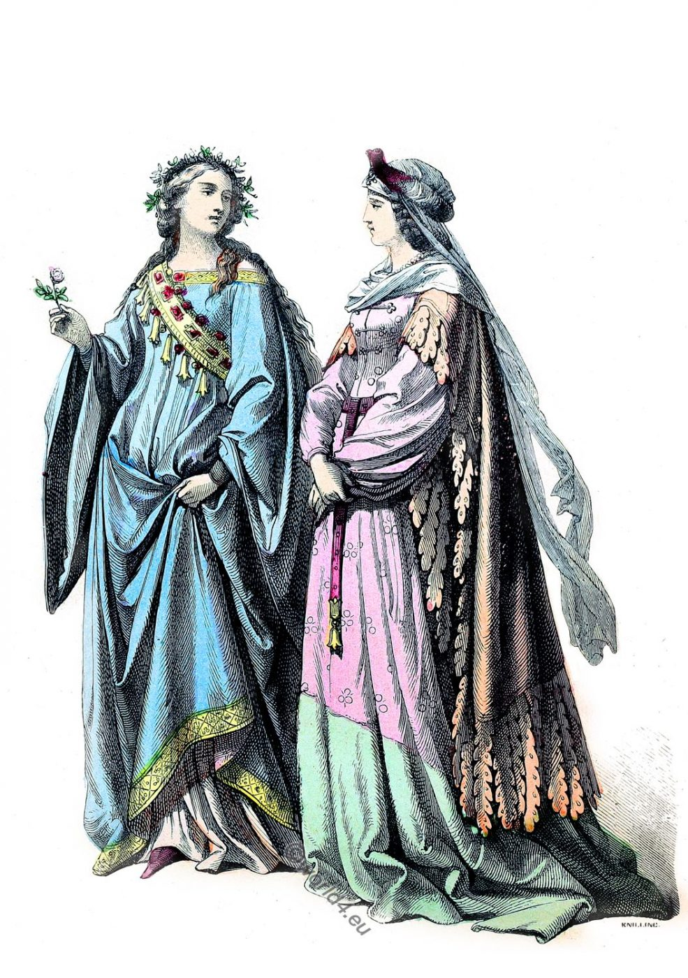 German, court, costumes,, middle ages, fashion