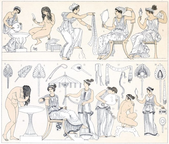 ancient, Greek, toilet, cosmetics, beauty products, hair care, mirrors, jewelry, boxes