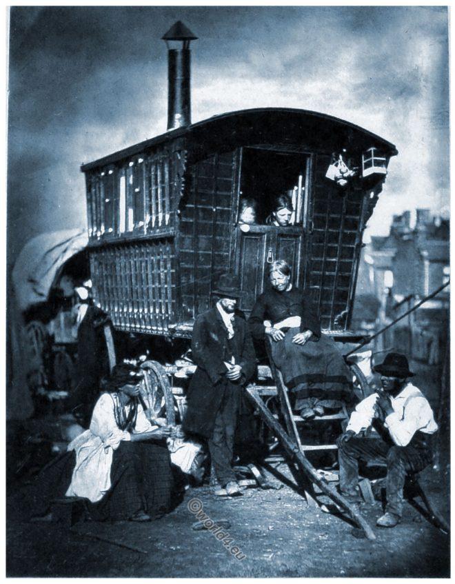 London, nomads, Gypsy, Caravan, Street Life, John Thomson, Victorian