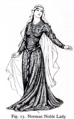 Norman, Noble, Lady, costume, 11th, century, fashion, middle ages