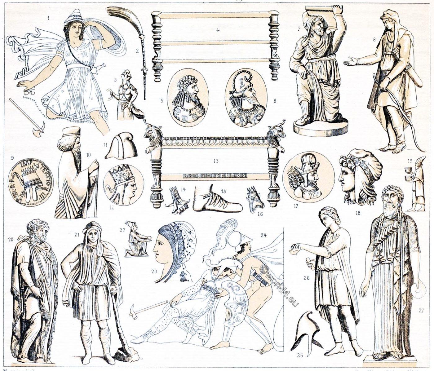 Phrygian cap, Parthians, Costumes, Antiquity, Asia, Persia,