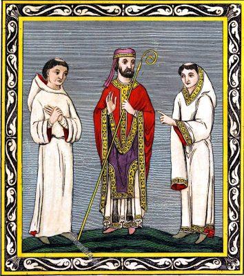 Ecclesiastics, Habits, Anglo-Saxon, middle ages, England, costumes, Joseph Strutt