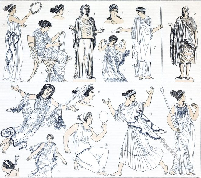 Greece, costumes, Endymata, epiblemata, Antiquity, fashion, chiton, greek, costumes