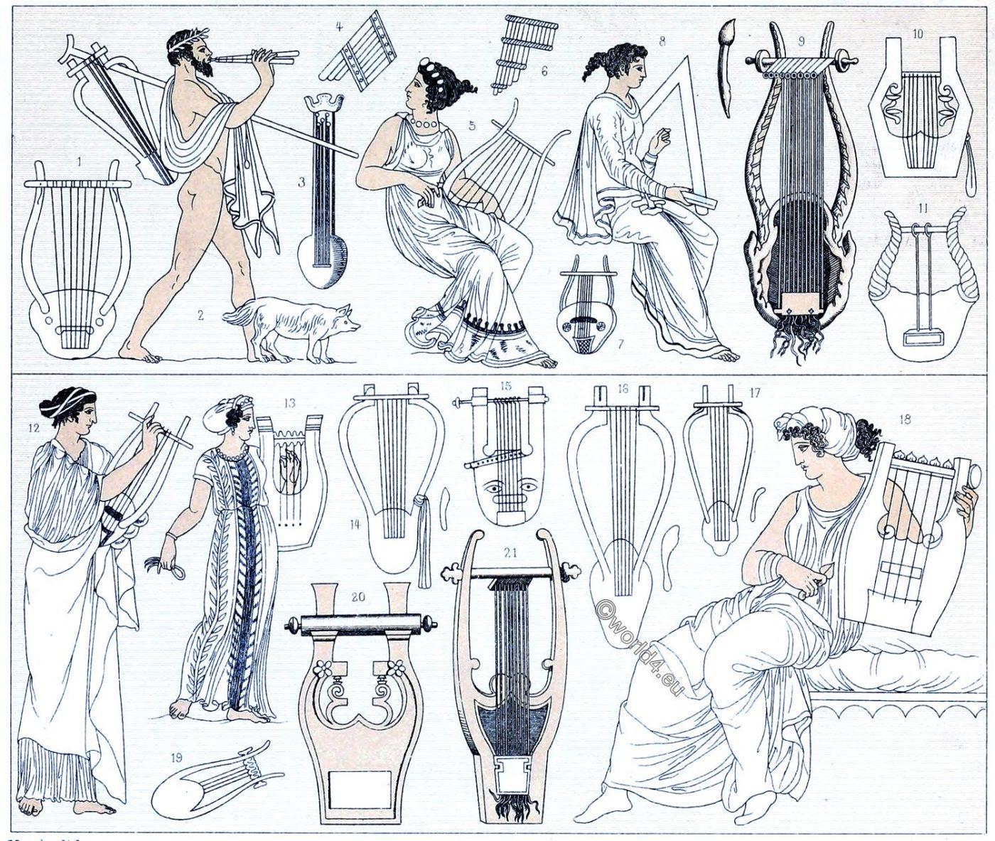Lyras, lyre, flute, syrinx, pan flute, Ancient, Greece, Greek, musical instruments,