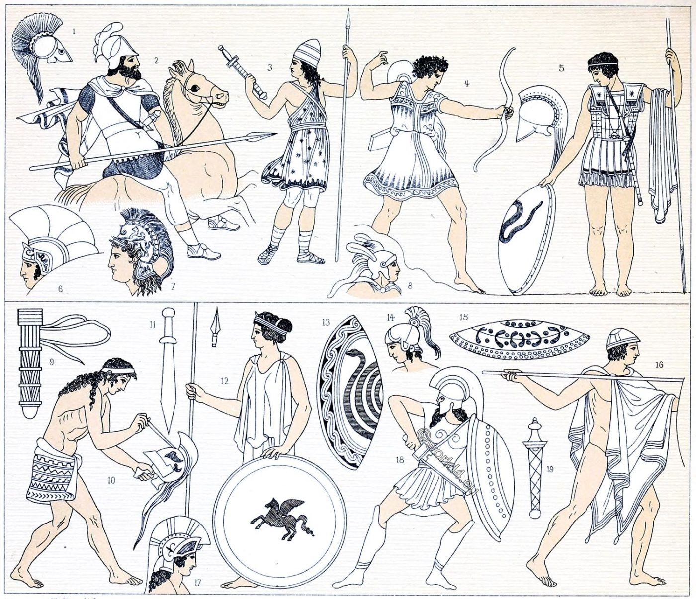 Greek, War costumes, weapons, Spartans, Hoplites, Peltasts