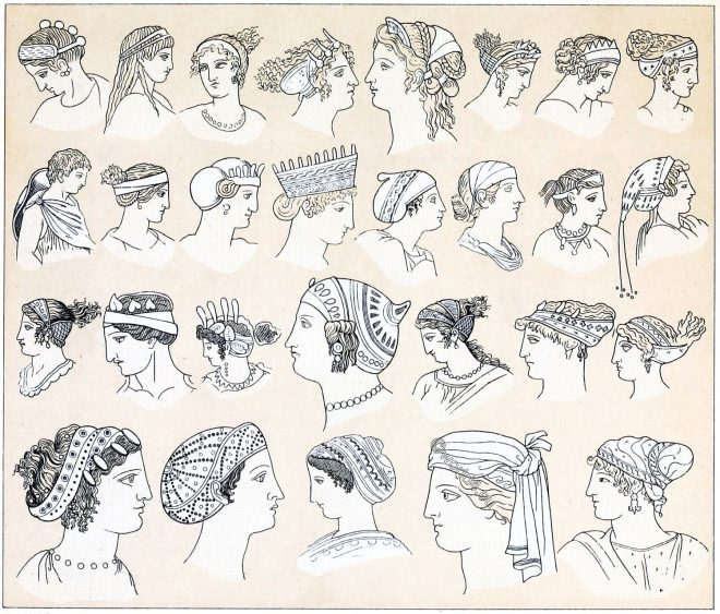 Hairstyles, headgear, ancient, Greece, Anademata, Sphendone, Opisthosphendone, Kekryphalos