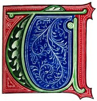 Initial T, Medieval, illumination, 15th century