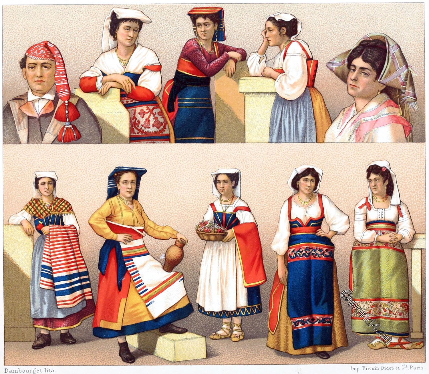 Italy Folk Costumes In The Provinces Of Rome And Ancona