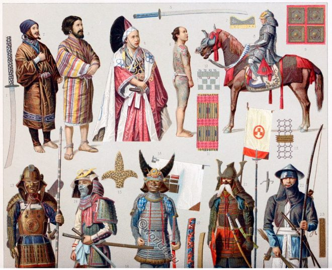 Japanese, Yakunin, Armor, court dress, nobility, Ainus, Daimio