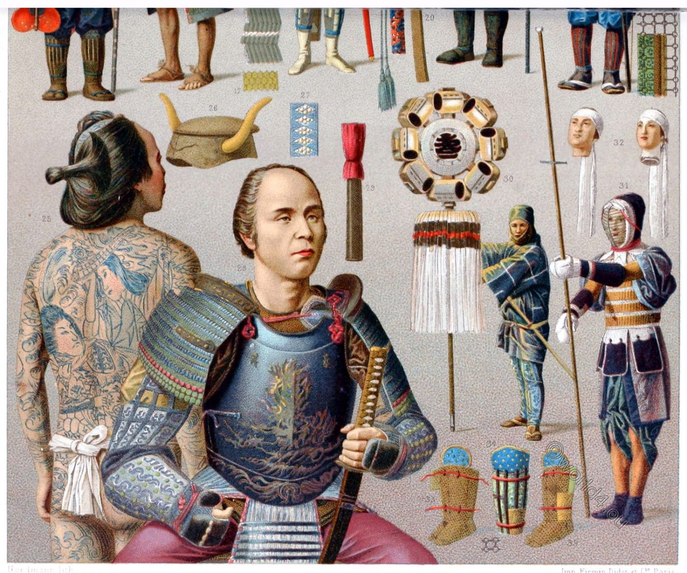 Japan, Yakunin, Japanese ,nobleman, Fireman, Archer, weapons, costumes, clothing,