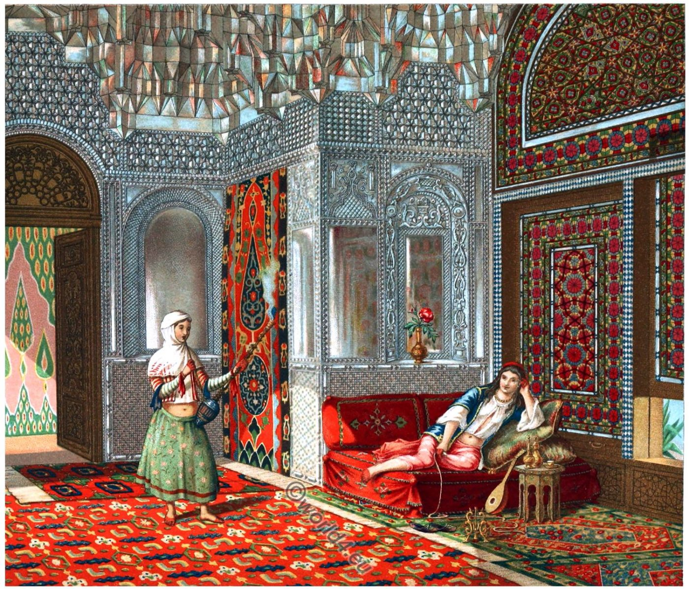 Persia, Persian, room, wooden building, Interieur, Architecture, islamic art,  pleasure house