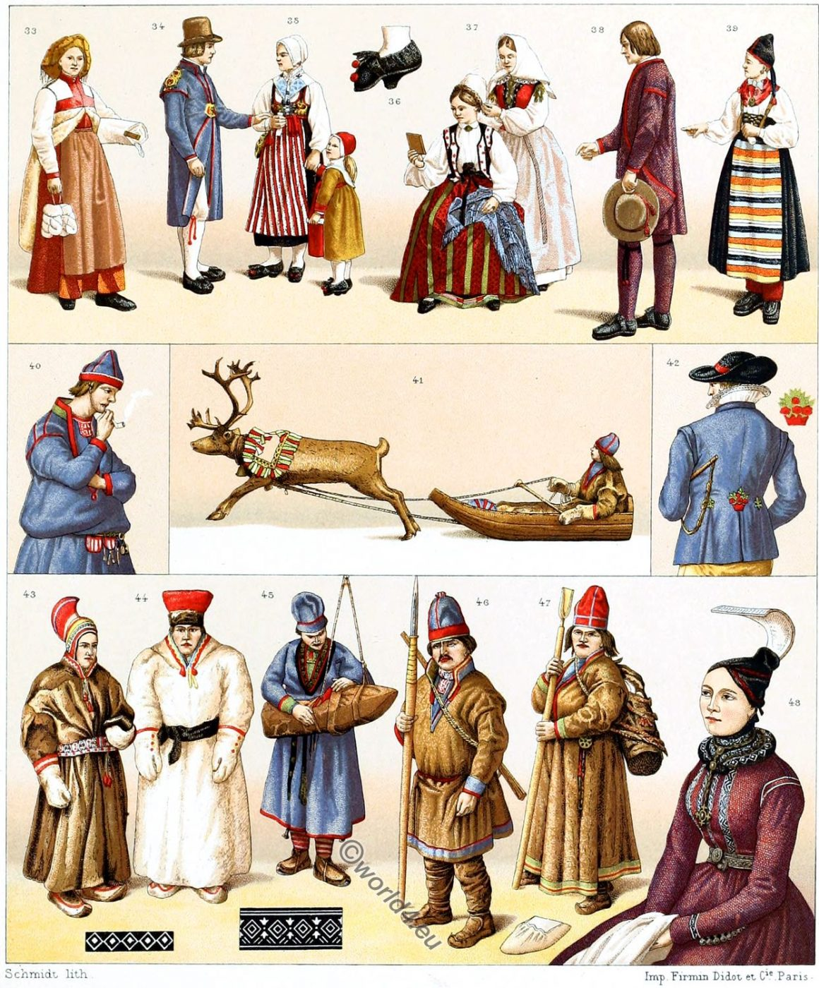 Scandinavian costumes, Sweden, Iceland, Lapland, Traditional, clothing, Swedish, Auguste Racinet